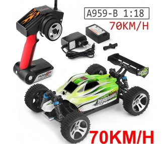 WLTOYS A959-B 2.4G 1/18 4WD 70KM/H ELÉCTRICO RTR OFF ROAD BUGGY RC COCHE R4H0  - 1