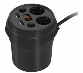 Cargador 2 Tomas de Mechero Coche Doble USB Pantalla LED Adaptador Auto 3.1A - 1