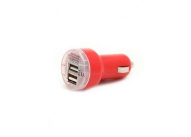 CARGADOR COCHE MOVIL SUPER RAPIDO DOBLE USB IPAD IPHONE SAMSUNG LG TABLET ROJO ARREGLATELO - 1