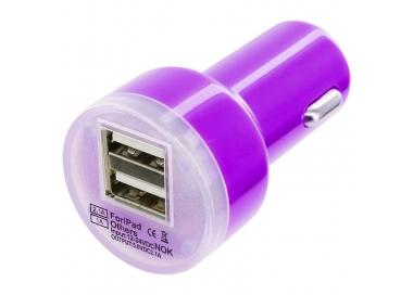 Car Charger - Double USB ports - Color Purple ARREGLATELO - 2