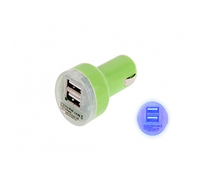 CARGADOR COCHE MOVIL SUPER RAPIDO DOBLE USB IPAD IPHONE SAMSUNG LG TABLET VERDE - 2