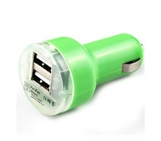 CARGADOR COCHE MOVIL SUPER RAPIDO DOBLE USB IPAD IPHONE SAMSUNG LG TABLET VERDE - 1
