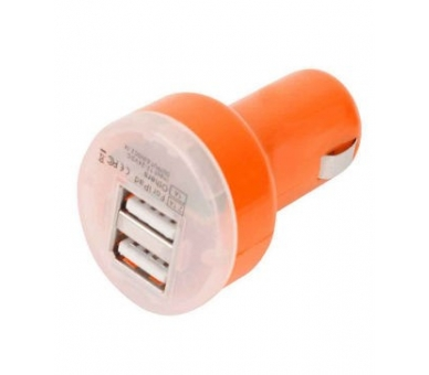 CARGADOR COCHE MOVIL RAPIDO DOBLE USB IPAD IPHONE SAMSUNG LG TABLET NARANJA - 1