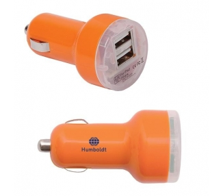 CARGADOR COCHE MOVIL RAPIDO DOBLE USB IPAD IPHONE SAMSUNG LG TABLET NARANJA ARREGLATELO - 2