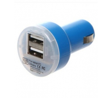 CARGADOR COCHE MOVIL SUPER RAPIDO DOBLE USB IPAD IPHONE SAMSUNG LG TABLET AZUL - 1