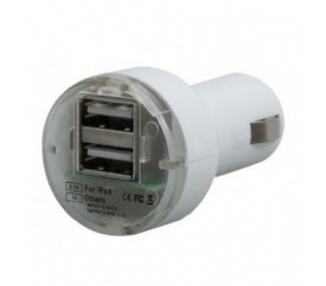 Car Charger - Double USB ports - Color White