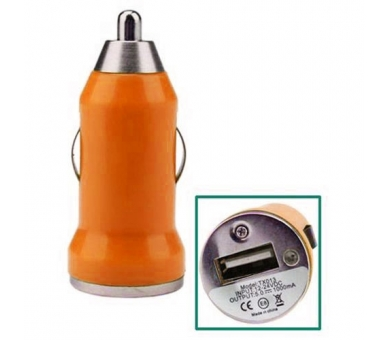 CARGADOR COCHE MOVIL USB IPAD IPHONE SAMSUNG LG HTC NOKIA TABLET HUAWEI NARANJA - 1