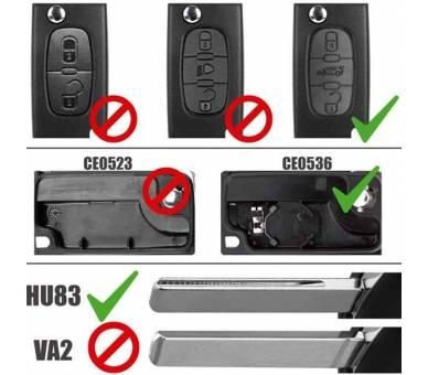 Mando Llave Funda Carcasa CE0536 HU83 de 2 Botones para Citroen C2 C3 C4 C5 C6 - 3