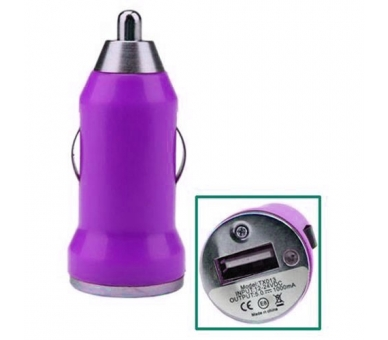 CARGADOR COCHE MOVIL USB IPAD IPHONE SAMSUNG LG HTC NOKIA TABLET HUAWEI MORADO  - 1