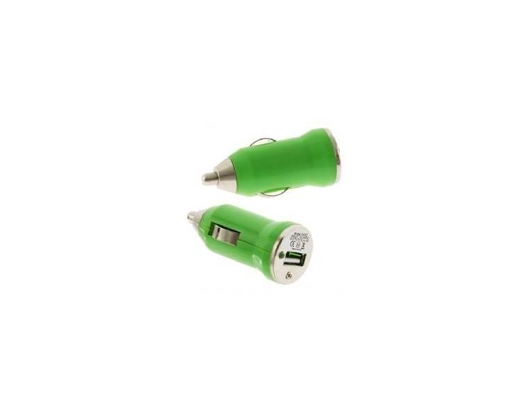 CARGADOR COCHE MOVIL USB IPAD IPHONE SAMSUNG LG HTC NOKIA TABLET HUAWEI VERDE  - 1