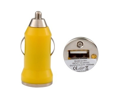 Car Charger - Double USB ports - Color Yellow  - 1