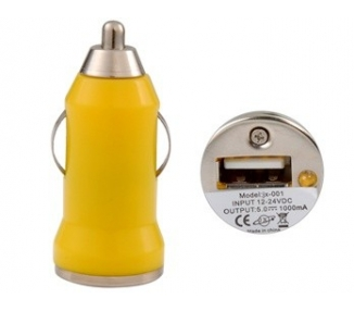 Car Charger - Double USB ports - Color Yellow