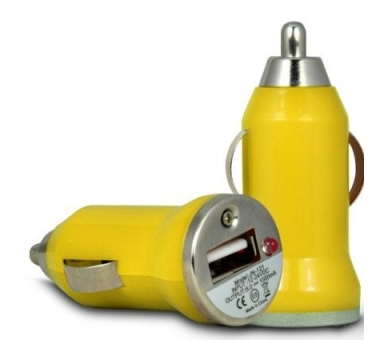 Car Charger - Double USB ports - Color Yellow  - 2