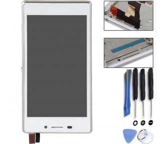 Display For Sony Xperia M2, Color White, With Frame