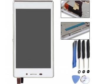 Pełny ekran z ramką dla Sony Xperia M2 D2302 D2303 D2305 D2306 biały