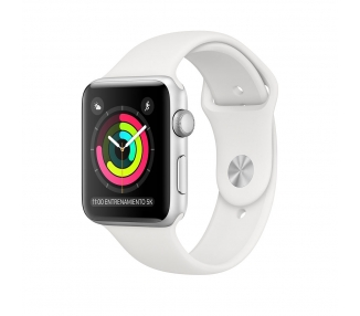 Apple Watch (Series 3) 38 mm - Acero inoxidable Plata - Correa Deportiva Blanco