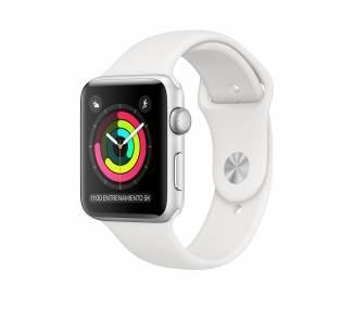 Apple Watch (Series 3) 38 - Edelstahl Silber  - Armband Sportarmband Weiß