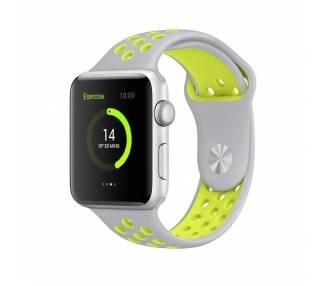 Apple Watch (Series 2) 42 mm - Aluminium argent - Bracelet sport Gris/Vert  - 1