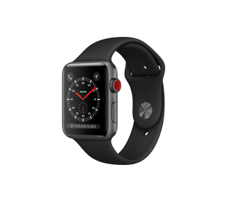 Apple Watch (Series 3) 42 - Acier inoxydable Noir - Bracelet Sport Noir