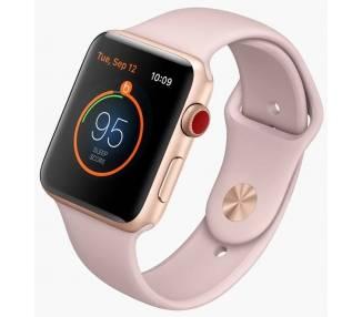 Apple Watch (Series 3) 38 - Aluminium or - Bracelet Sport Rose des sables  - 1