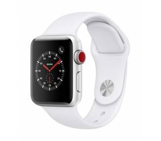 Apple Watch (Series 3) 42 - Aluminium Argent -  Bracelet Sport Blanc