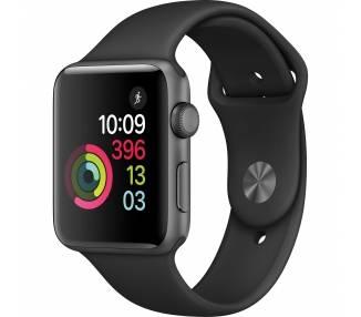 Apple Watch (Series 2) 38mm - Aluminium Gris Sidéral - Bracelet sport Noir  - 1