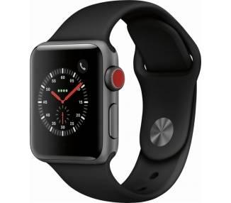 Watch (Series 3) 38 - Acier inoxydable Noir - Bracelet Sport noir Apple - 1