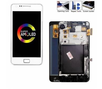 Vollbild mit Rahmen für Samsung Galaxy S2 i9100 Weiß Weiß ARREGLATELO - 1