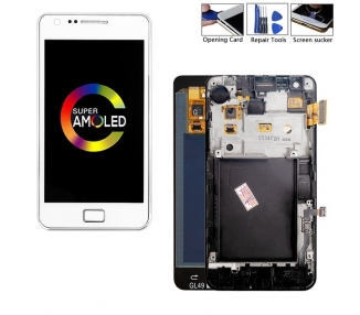 Display For Samsung Galaxy S2, Color White, With Frame, A