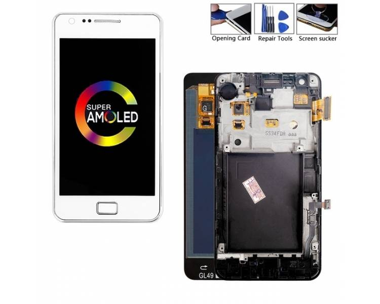 Display For Samsung Galaxy S2 | Color White | With Frame | A ULTRA+ - 1