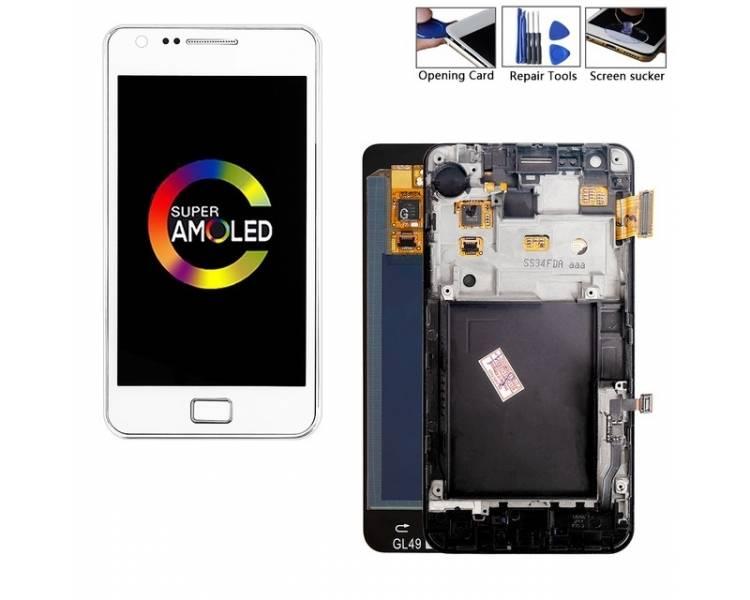 Bildschirm Display mit Rahmen für Samsung Galaxy S2 i9100 Weiß ULTRA+ - 1