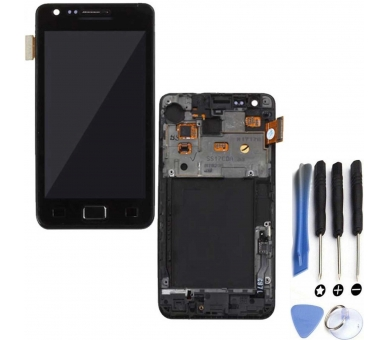 Display For Samsung Galaxy S2, Color Black, With Frame, A ARREGLATELO - 1