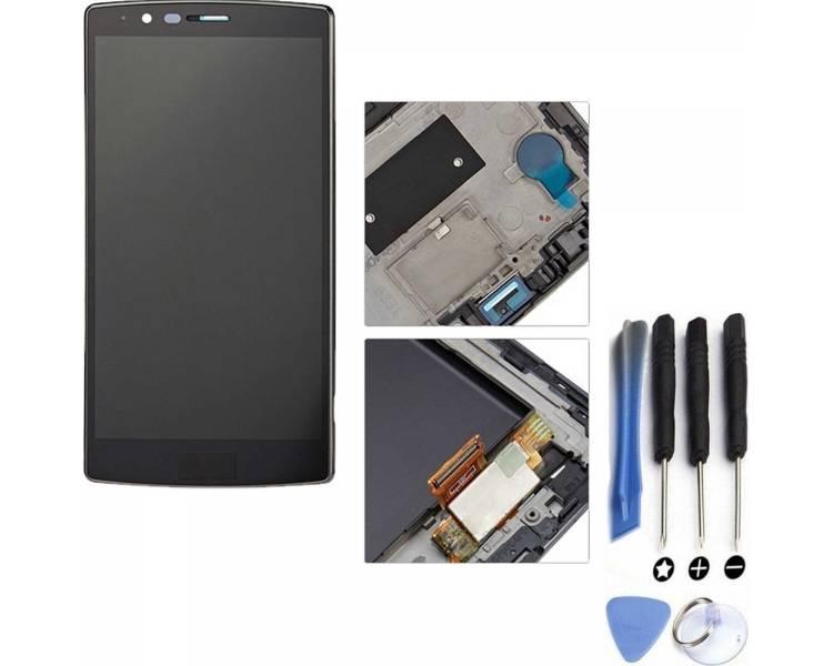 Bildschirm Display mit Rahmen für LG G4 H815 H818 Schwarz ULTRA+ - 1