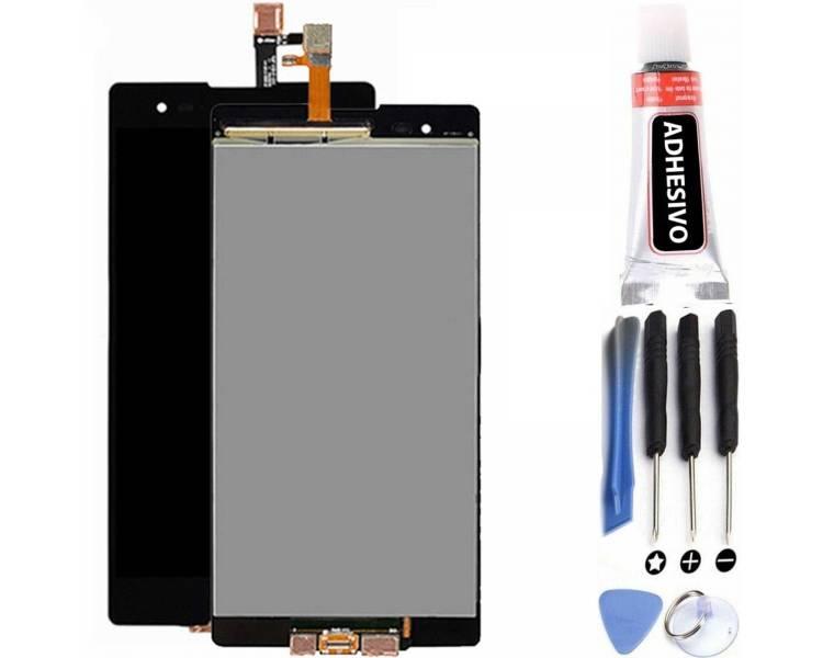 Vollbild für Sony Xperia T2 Ultra D5303 D5306 Schwarz Schwarz ARREGLATELO - 1