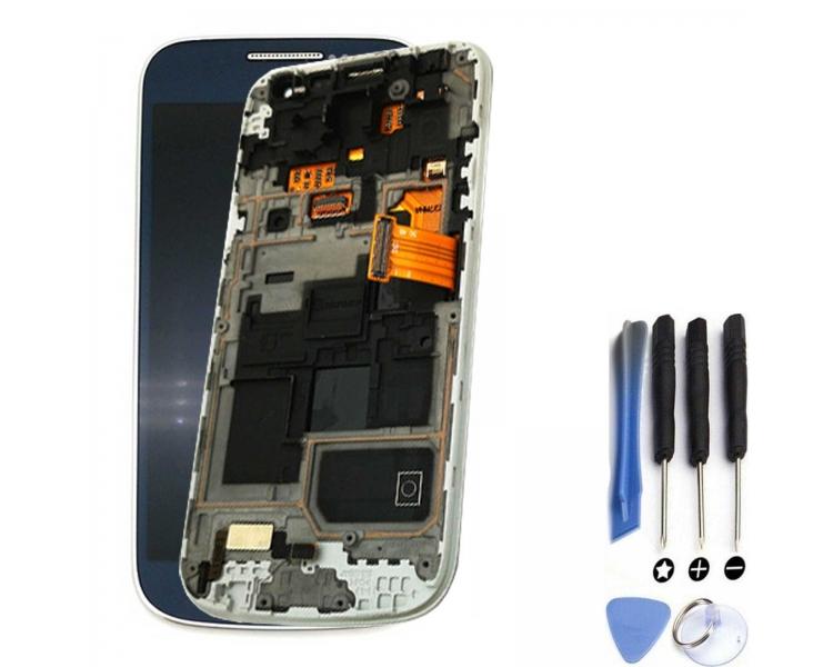 Pantalla Completa con Marco para Samsung Galaxy S4 Mini i9195 Azul