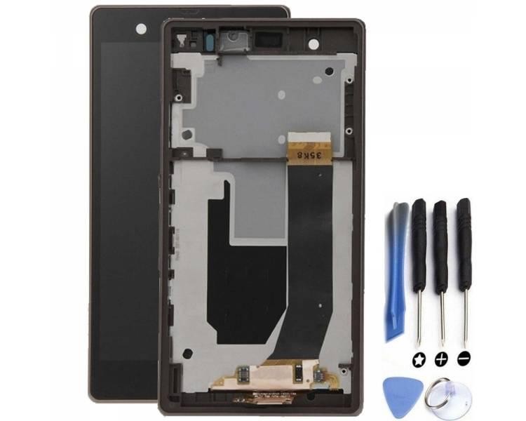 Volledig scherm met frame voor Sony Xperia Z L36h Zwart Zwart FIX IT - 1
