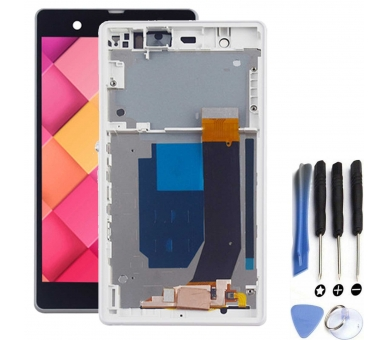 Display For Sony Xperia Z, Color White, With Frame ARREGLATELO - 2