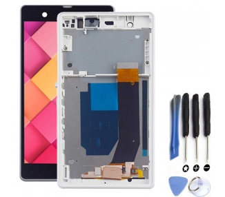 Display For Sony Xperia Z, Color White, With Frame