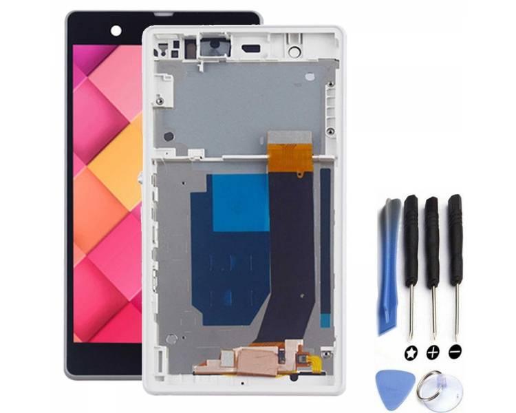 Pełny ekran z ramką dla Sony Xperia Z L36h White White ARREGLATELO - 2