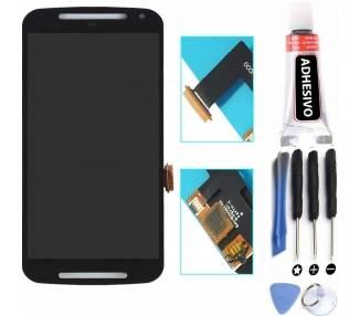Vollbild für Motorola Moto G2 XT1062 bis XT1069 Schwarz Schwarz