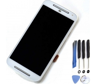 Display For Motorola Moto G2, Color White, With Frame