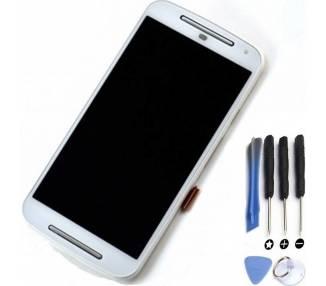 Vollbild mit Rahmen für Motorola Moto G2 XT1068 XT1063 Weiß Weiß