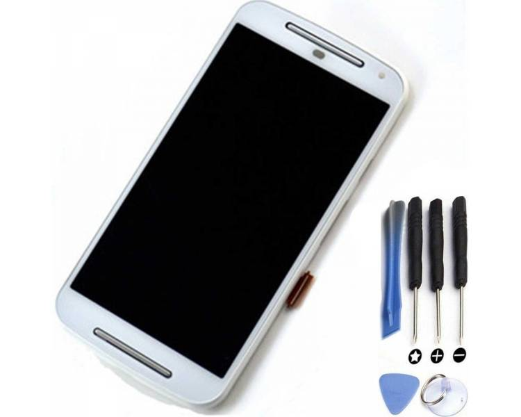 Display For Motorola Moto G2, Color White, With Frame ARREGLATELO - 1