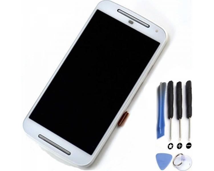Pełny ekran z ramką dla Motorola Moto G2 XT1068 XT1063 White White ARREGLATELO - 1