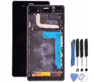 Volledig scherm met frame voor Sony Xperia Z3 D6603 Zwart Zwart ARREGLATELO - 1