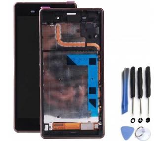 Pantalla Completa con Marco para Sony Xperia Z3 D6603 Dorado Dorada ARREGLATELO - 1