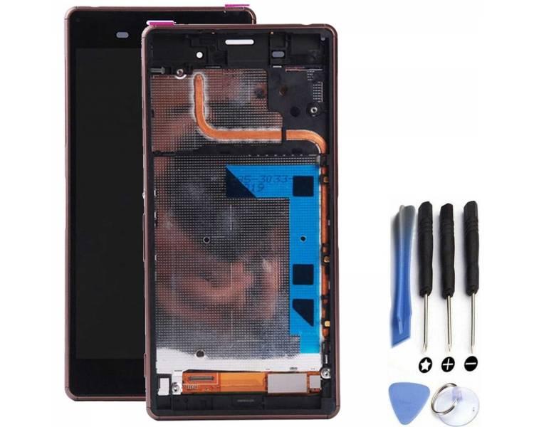 Pantalla Completa con Marco para Sony Xperia Z3 D6603 Dorado Dorada