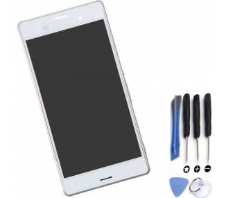 Pantalla Completa con Marco para Sony Xperia Z3 D6603 Blanco Blanca