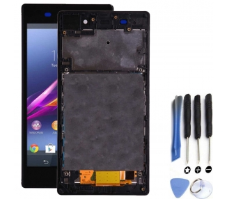 Vollbild mit Rahmen für Sony Xperia Z1 L39H Schwarz Schwarz