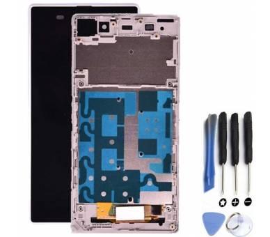Vollbild mit Rahmen für Sony Xperia Z1 Weiß Weiß ARREGLATELO - 1